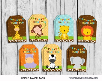 Jungle Thank you Tags, Safari Gift Favors, Little Jungle Birthday Party, Baby animals Party Favors,PRINTABLE DIY