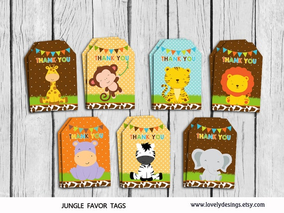 Jungle Themed Baby Gifts Uk : Jungle thank you tags safari gift favors little