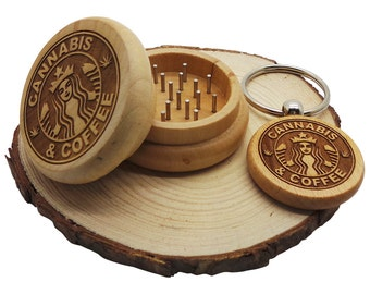 Wooden Cannabis Herb Grinder Gift Set Wood  Keyring Keychain Decorated Cannabis Leaf Weed Smoking Weed Pot Mill Engraved Luxury Smokers