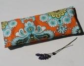 Lavendel oogkussen, Oranje, Bloemenprint, Wasbare hoes, Katoen, Relaxen, Aromatherapie, Meditatie, Lavendel oogzakje, Yoga kado idee vrouw