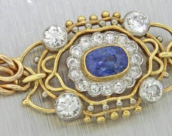 1890s Antique Victorian 14k Yellow Gold 1.50ct Diamond 0.75ct Sapphire Bracelet
