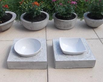 Concrete feeding dish Bowl bar Futterbar nature 22x22cm