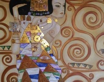"Art reproduction oil on canvas ""the Wait"" by Klimt"
