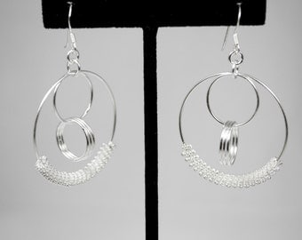Solid Sterling Silver Drop Earrings Circle Design