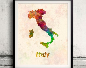 Italy - Map in watercolor - Fine Art Print Glicee Poster Decor Home Gift Illustration Wall Art Countries Colorful - SKU 1895