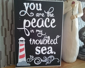 You are the Peace in my Troubled Sea - Chalkboard Style Greeting Card -  Encouragement
