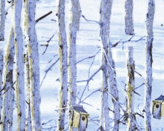 Scenic Snowfall w/Birdhouses By Timeless Treasures-BTY-Birds-Snow-Trees-Forest