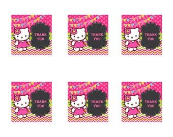 Hello Kitty Thank You Tags, Hello Kitty Goody Bag Tags, Hello Kitty Favor Tags, Hello Kitty Party Favor Tags, Hello Kitty Topper, HK 00013