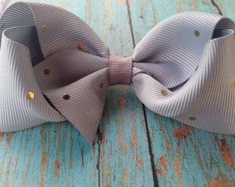 Grey and Gold Hair Bow - Gold Polka Dots - Gray Hair Bow - Polka Dots Bow - Gray and Gold Polka Dots - Toddler Hair Bow -  Hair Bow