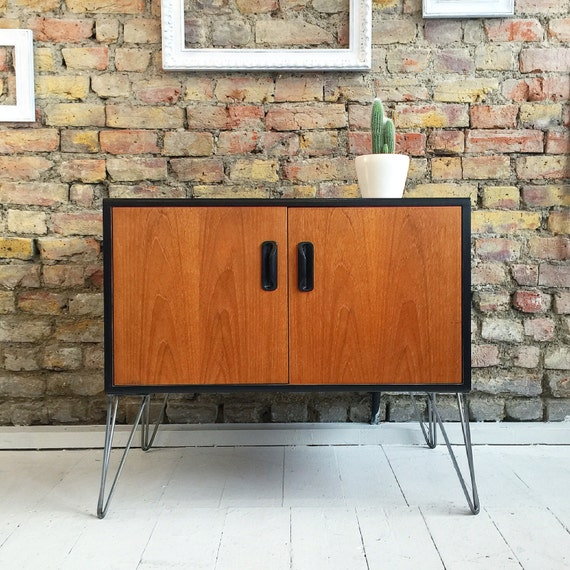 Upcycled vintage retro mid century gplan cabinet cupboard with industrial hairpin legs