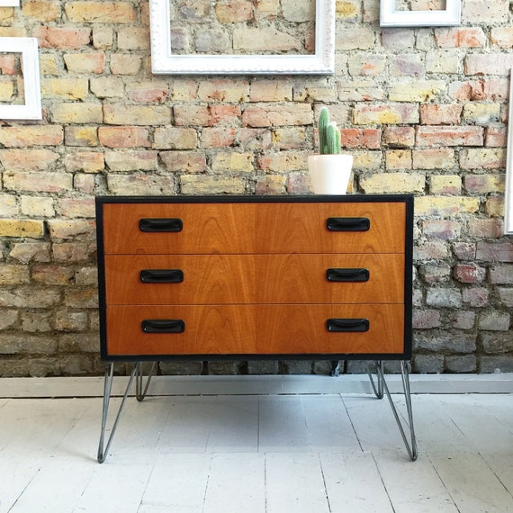 Upcycled vintage retro mid century gplan chest of drawers hairpin legs