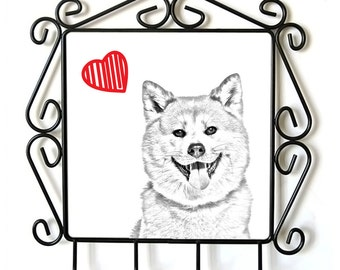 Akita Inu - clothes hanger with an image of a dog. Collection. Dog with heart.