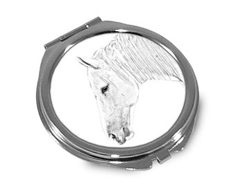 Boulonnais - Pocket mirror with the image of a horse.