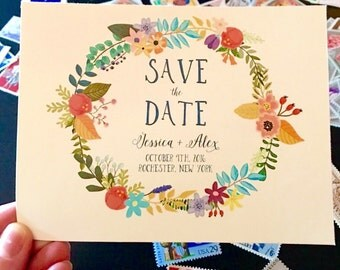 Save the Date Card, Printable Save the Date Postcard, Wreath Save the Date Cards, Printable Save the Date Postcard, Floral Save the Date