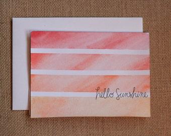 Hello Sunshine - Watercolour Stripes Card