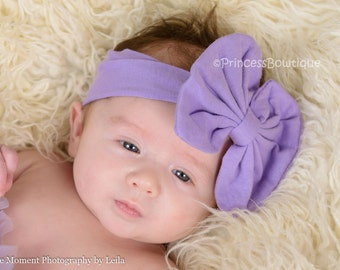 Lavender Knit Headband, Baby Girl Headband, Headbands for babies, Lavender Big Hair Bow Headband, Baby Shower Gift, Photography Prop,