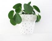 Hand Painted White Spot Plant Pot - 15cm
