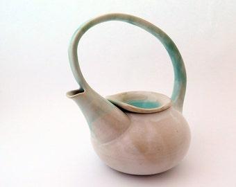 Large Pottery Tea Pot, Handmade Ceramic Tea Pot with Handle