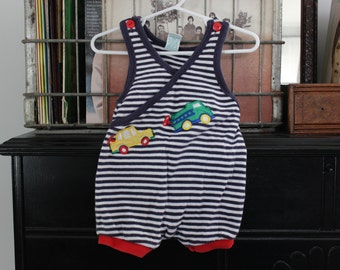 Cars, trains, trucks romper 6, 9 month baby boy romper/ bodysuit/ playsuit - busy things that go