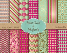 "Magenta Mint and Gold Digital Paper: ""Magenta Mint and Gold Patterns"" scrapbook paper, mint and magenta, scrapbooking, cardmaking"