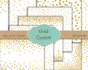 "Gold Confetti Digital Paper: ""White and Gold Confetti"" White and Gold Foil Scrapbook Paper, Gold Confetti, Gold Polka Dots"