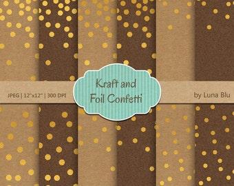 """Confetti Digital Paper: """"Kraft and Gold Confetti"""" Gold Foil Scrapbook Paper, kraft digital paper, Gold Confetti"""