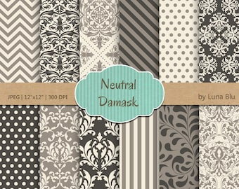 "Damask Digital Paper: ""Neutral Damask Patterns"" neutral digital paper, for cardmaking, invitations, neutral scrapbooking paper"