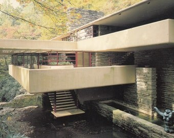 1987 Frank Lloyd Wright Fallingwater Exterior  Postcard Before Renovation After 2000