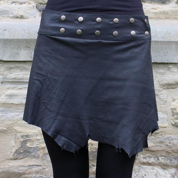 handmade leather skirt hippie skirt black psy steunk