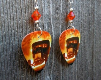 Godsmack 1000hp Guitar Pick Earrings with Orange Crystals