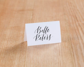 Black Ink Calligraphy Place Cards
