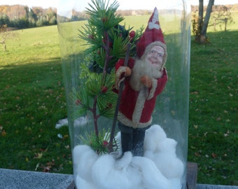 """Vintage Santa Claus ST. NICK with Wood Walking Stick in a 12"""" Tall Glass Dome on Wood Base.."""