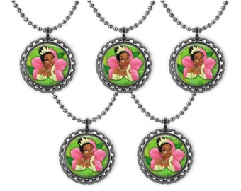 5 Disney TIANA Princess & the Frog 3D Bottle Cap Necklace Birthday Party Favors #1