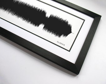 Clocks - Music Art Sound wave Print - Song Lyric Art, Band Poster - Piano Music