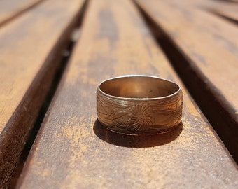 Flowery Pattern Engraved Sterling Ring