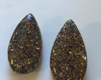 Large mixed colored glitter teardrops