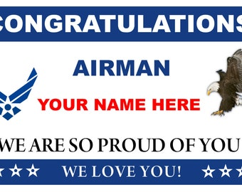 3ftX5ft Congratulations Airman U.S. (US) Air Force Basic Military Training Graduation Banner Sign Poster