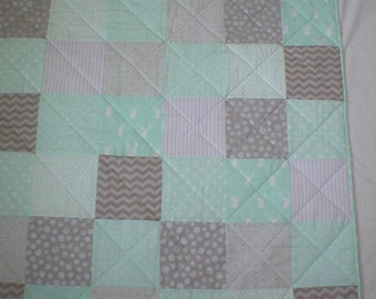 Mint Green and Gray Patchwork Quilt - Lap Quilt - Baby Quilt
