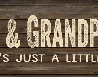 Grandma & Grandpa's Cabin Wood Sign Canvas Wall Art - Christmas, Anniversary, Birthday, Grandparent Gift, Family Nam