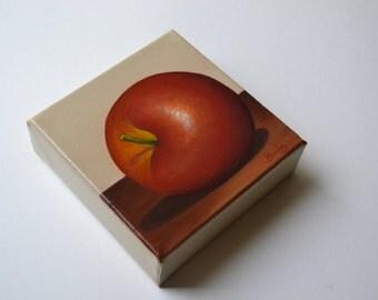 Original 5x5' acrylic small still life painting, red apple painting, kitchen painting, fruit painting, food painting, tiny fruit painting
