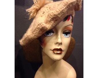 Cream colored crochet tam - knot beret with pom pom - handmade knit beret