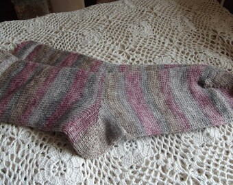 Hand Cranked Socks made on a Circular Sock Machine - Pinks and Greys