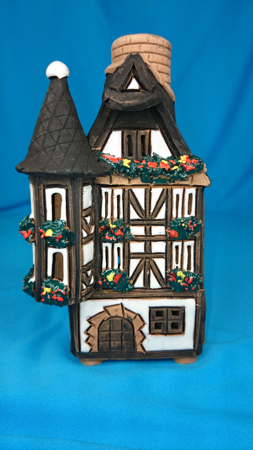 Ceramic Candle House Tea Light Candle Holder Essential Oil