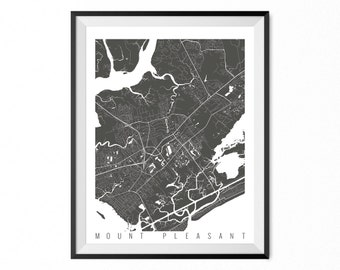 Mount Pleasant Map Art Print / Mount Pleasant City Poster / Mount Pleasant Wall Art / South Carolina/ Gift / South Carolina home decor