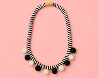 Pom pom necklace black and white,  boho pompom necklace black white ringed, fiber necklace, cotton wrapped statement pompom necklace