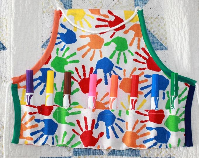Toddler Art/Craft Apron. Sturdy Primary Colorful Craft Apron. Toddler Egg Gathering Apron. Adjustable neck/waist ties. Fun Birthday Gift!