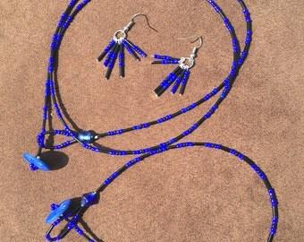 Blue and Black Button Clasp Set