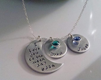 Love You To The Moon Hand Stamped Necklace