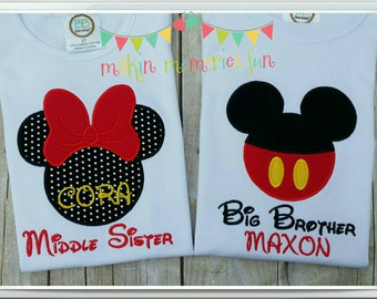 Brother Sister shirts, Big, Middle or Little. 2 shirts any combination Mickey or Minnie Disney sibling shirts, gender reveal shirts