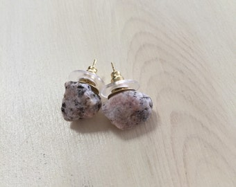 Gallatin River Rock Stud Earrings, Montana Natural Stones, Gold Nickel-Free Posts